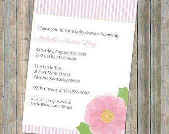 flower baby shower invitation, printable, digital file