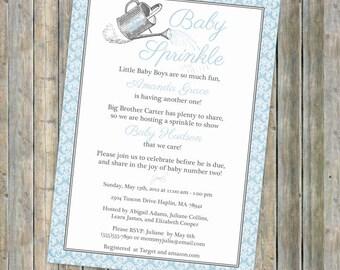watering can baby sprinkle invitation, sprinkle shower, digital, printable file