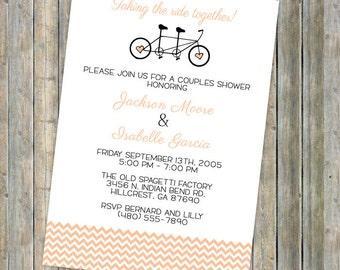 tandem bike, couples shower invitation, printable, digital file