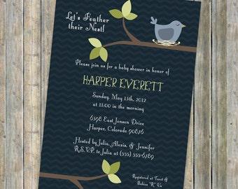 Bird baby shower invitation, feather her nest, Digital, Printable file
