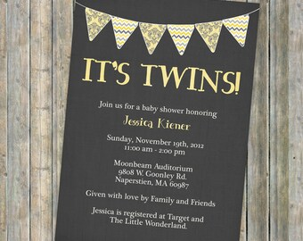 twin baby shower invitation, banner, it's twins, Digital, Printable file