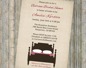 bedroom bridal shower, bridal shower invitations, digital, printable jpeg