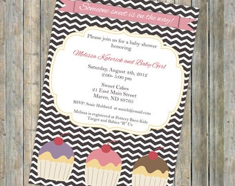 Sweet Cupcake Baby Shower, Baby shower invitation with chevron, digital printable file