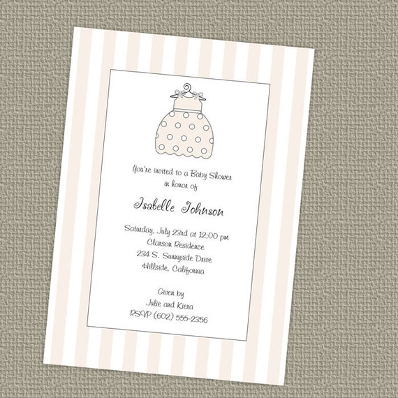 Baby girl shower invitation, dress, stripes digital file