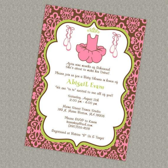 damask baby girl shower invitations, Modern Ballet Baby, dance, digital, printable file