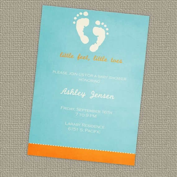 baby shower invitation, tiny feet, digital file