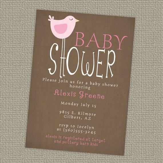 bird baby shower invitations, digital, printable