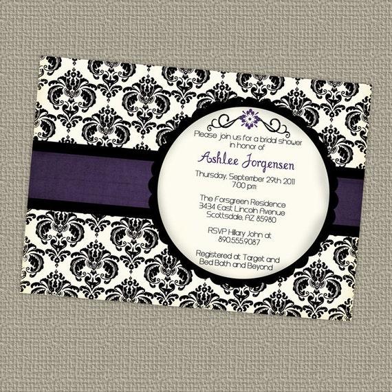 Modern wedding or bridal shower invitations digital for Modern bridal shower invitations
