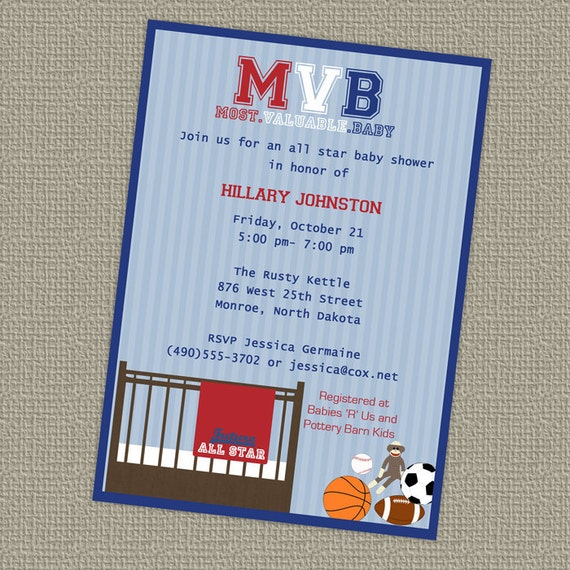 Sports Baby Shower, All Star Invite, Sports themed, MVB, digital, printable file