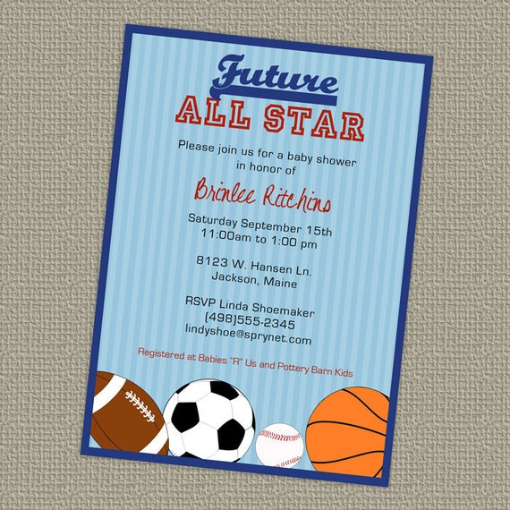baby shower all star invite sports themed future all star, Baby shower invitations