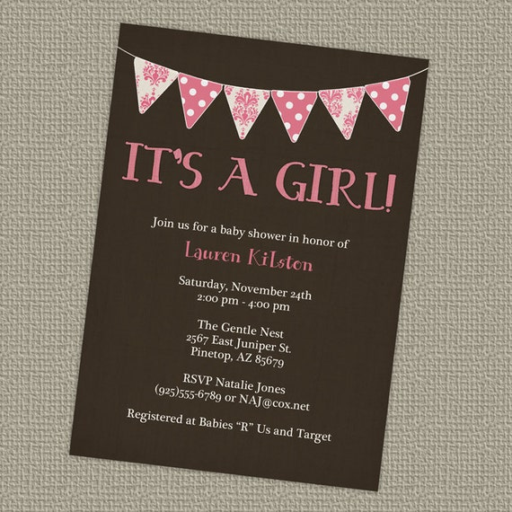 banner baby girl shower invitation, it's a girl baby shower, digital, printable file