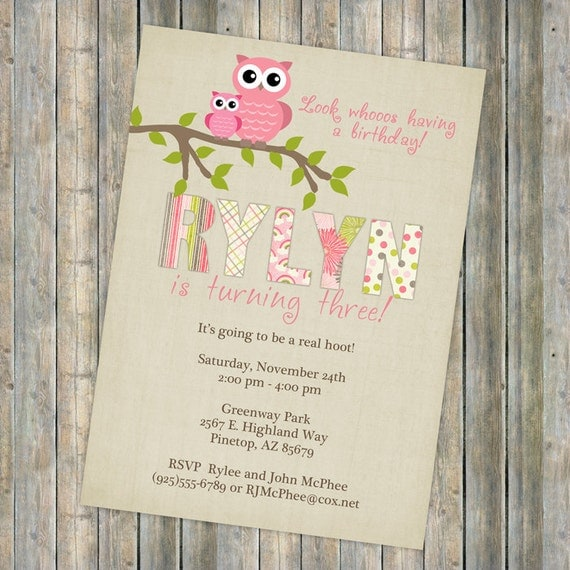 birthday party invitation with owls, digital, printable file