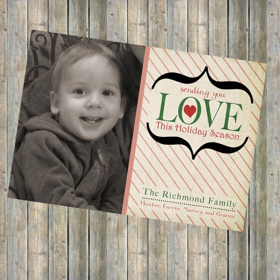 Photo Christmas card, holiday card, photo card, digital printable file, we are Abel, homemade hope charity card
