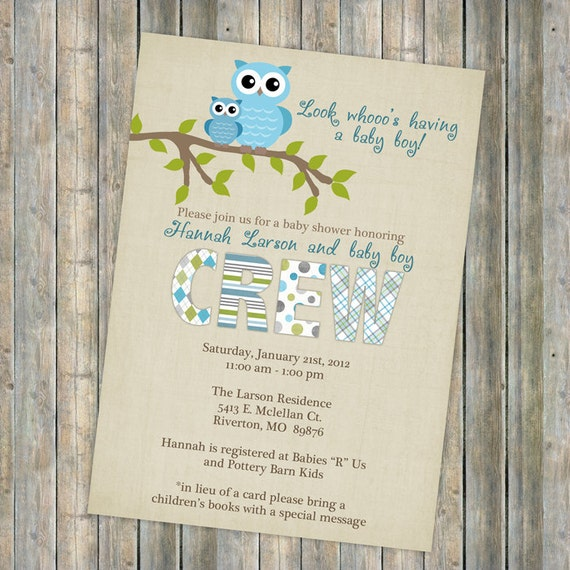 Owl Baby Shower Invitations Baby Shower Invitation With Owls