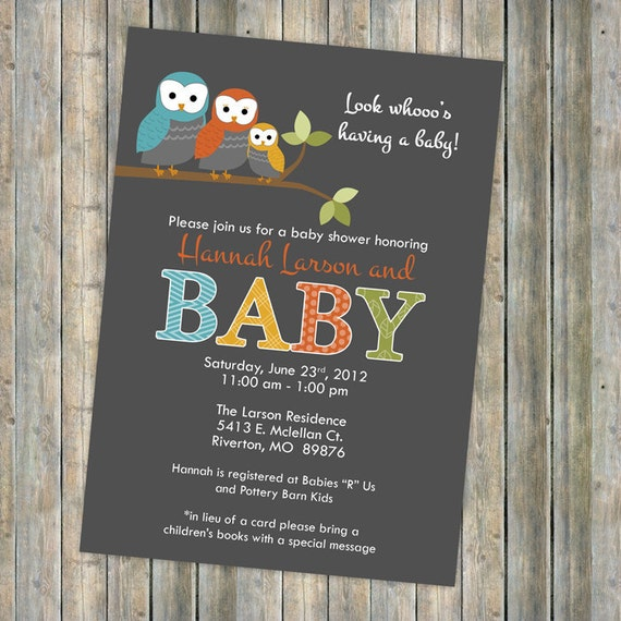 baby shower invitation, mod baby shower invitation with owls, Digital, Printable file gender neutral