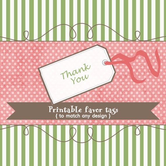 Favor tags to match any design, printable digital file