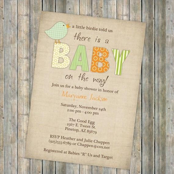 bird baby shower invitations little bird gender neutral