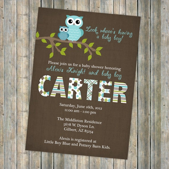 Baby Shower Invitations Wording For Boys: Baby Boy Shower Invitations Shower Invitation With Owls