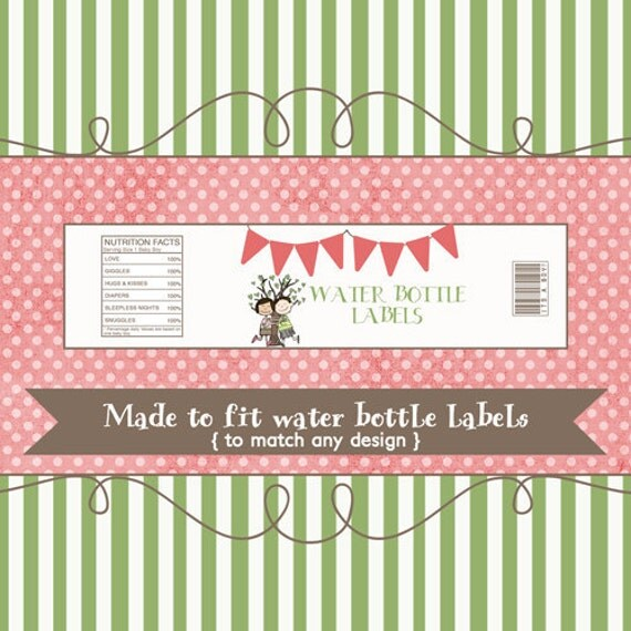 Water Bottle Labels to match any design, printable digital file
