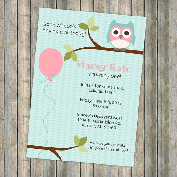 owl birthday party invitation, balloon, pink and aqua, digital, printable file