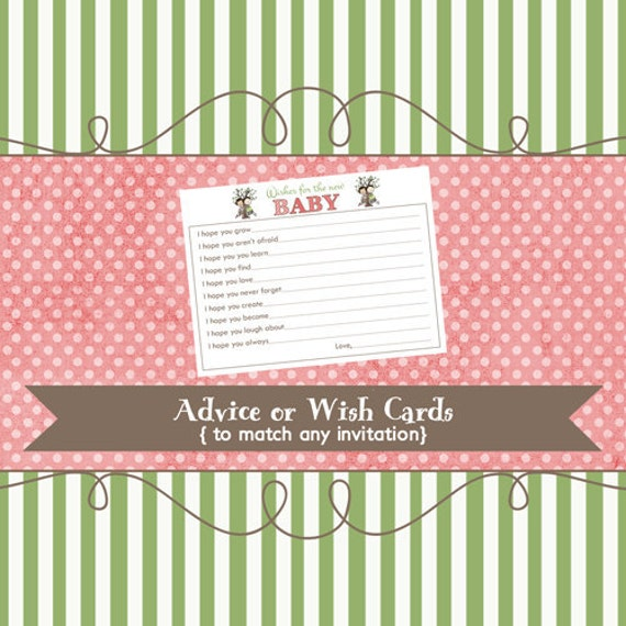 Wish or Advice Card to match any design, printable digital file
