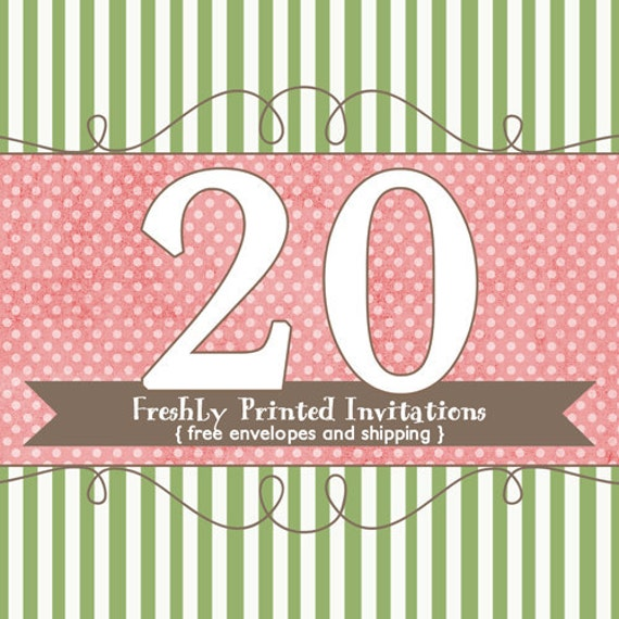 20 Printed Invitations (professional printing of  5x7 invitations or announcements)
