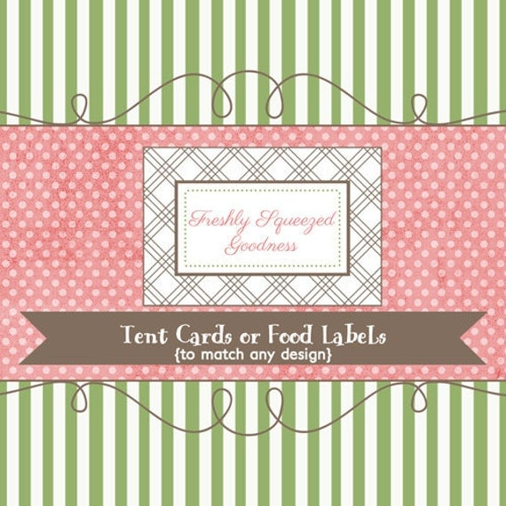 Tent cards or food labels to match any design, printable digital file