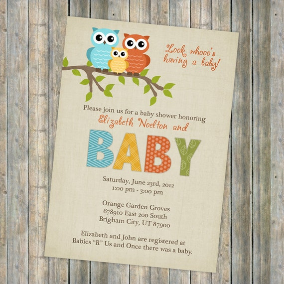 Baby shower invitation, owl baby shower, gender neutral (Orange, Green, Yellow, and Blue)