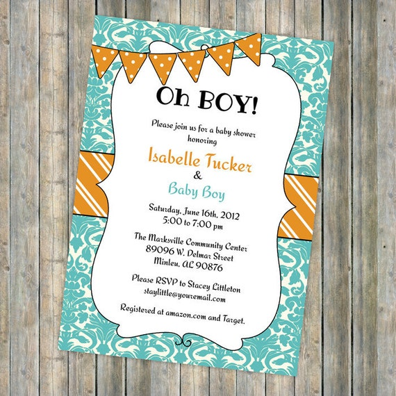Oh boy banner baby shower invitation, baby boy shower invitation with banner, digital, printable file