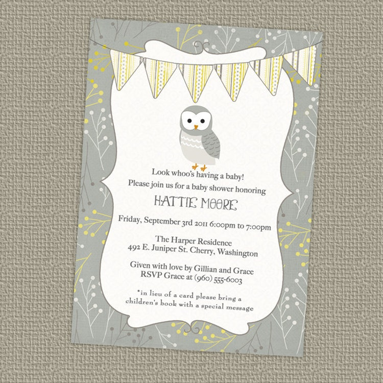 Vintage Owl Baby Shower Invitations: Owl Banner Baby Shower Invitation Gender By