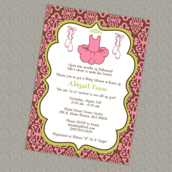 damask baby girl shower invitations modern ballet baby