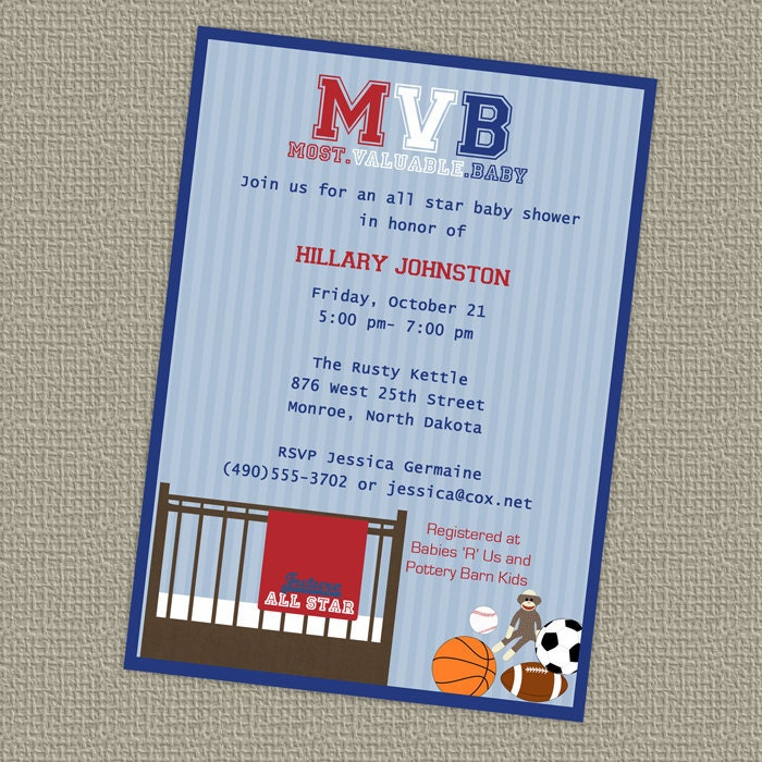 sports baby shower all star invite sports themed mvb