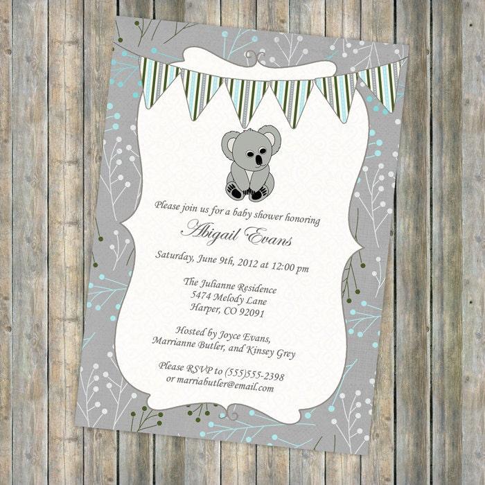 Koala Bear Baby Shower Invitation With Banner Shower