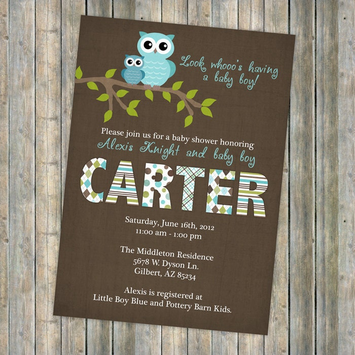 Baby Boy Shower Invitations Shower Invitation With Owls