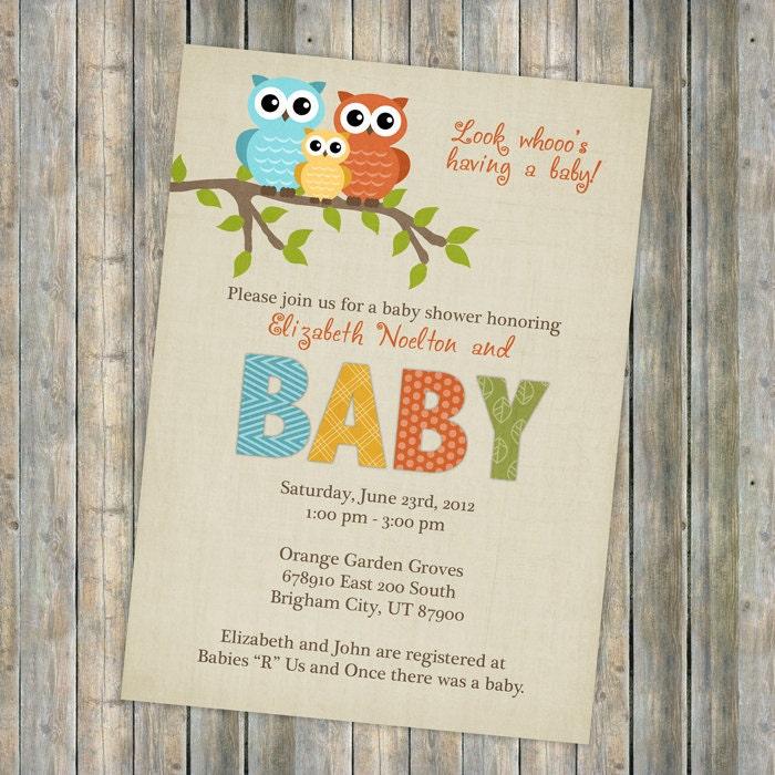 Baby Shower Invitation Owl Baby Shower Gender Neutral