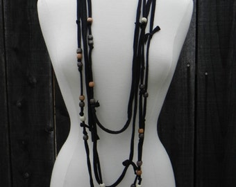 Black Skinny scarf, bohemian scarf, Lariat Necklace, wooden beading, black beaded necklace