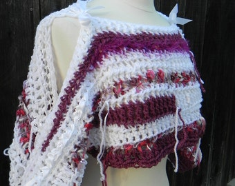 Unique One of a Kind, Shabby Chic, Crop top, Shrug, Bolero, FREE domestic shipping