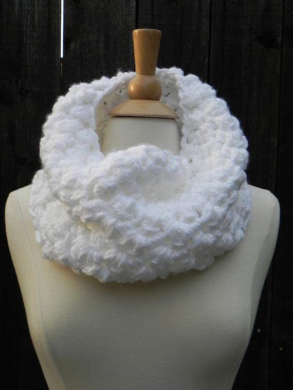 Snow Whites Cowl Neckwarmer Collar in Plush Soft Cozy White hand knit crochet