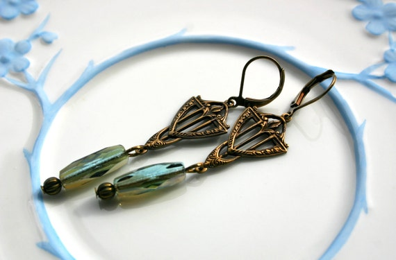 Aqua Celsian art deco drop earrings