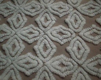 """Gorgeous Hoffman MOCHA Brown with and WHITE SNOWFLAKES Vintage Chenille Bedspread Fabric - 24"""" X 24"""""""