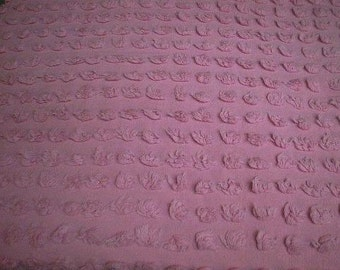 "Morgan Jones PERFECT PINK POPS Vintage Chenille Bedspread Fabric  - 24"" by 24"""