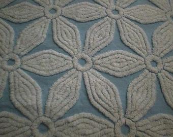 "Hofmann BLUE with Big, WHITE Chenille Daisy Designs Vintage Chenille Bedspread Fabric - 18+"" X 37+"""