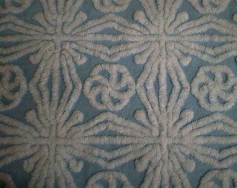"Gorgeous HOFMANN BLUE with White SNOWFLAKES Vintage Chenille Bedspread Fabric - 24"" X 24"""