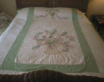 SALE - Handmade CANDLEWICK Baskets with Flowers Vintage Chenille Bedspread - Free Shipping