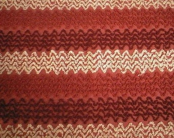 "RESERVED - Cabin Craft Red with White and Two Shades of Red ZIG ZAG Designs Vintage Chenille Bedspread Fabric - 21"" X 24"" - #2"