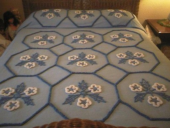 RESERVED - BLUE with WHITE and Royal Blue Needletuft Flowers Vintage Chenille Bedspread - Free Shipping