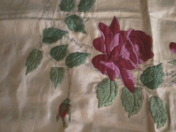 Vintage Embroidered Linen with Gorgeous RED ROSES - Almost Finished - Vintage Embroidery - Free Shipping