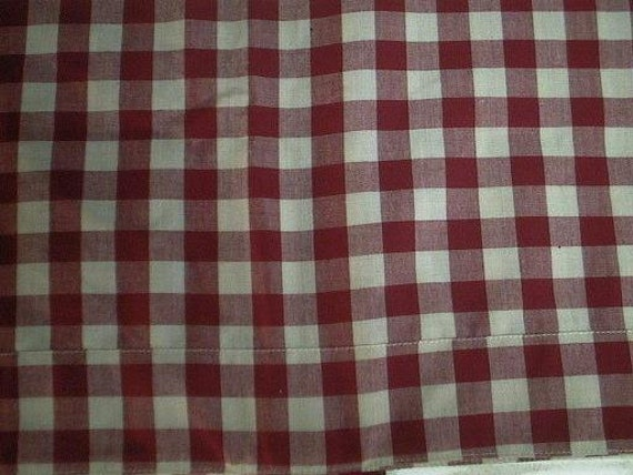 sale red and white gingham checked curtains drapes pair