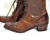 RESERVED for Faesecret only: Leather lace up oxford Guess boots / victorian style granny boots  / 80s vintage