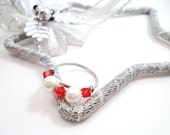 Red Pearl Ring Red Crystal Sterling Silver Wire Wraped